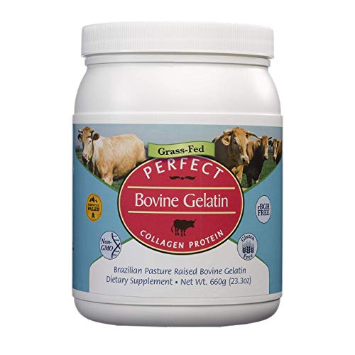 Perfect Bovine Gelatin 100% Grass Fed Beef Gelatin Powder (Cooked Collagen), Brazilian Pasture Raised ~ Large 23.3oz. 60 Serving Container ~ No Fillers, GMOs or Pesticides