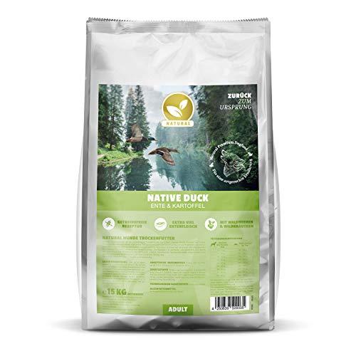 Natural | Native Duck | 15 kg | Ente + Kartoffel | getreidefreies Hundefutter | Trockenfutter für alle Hunderassen | viel frisches Fleisch | artgerecht & besonders gut verträglich