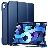 MoKo Hülle Kompatibel mit iPad Air 4. Generation 2020 Neu iPad 10.9 Zoll 2020, Smart Hülle Ständer Schutzhülle Dreifach Cover mit Transluzent TPU Rückseite & Stifthalter, Marineblau