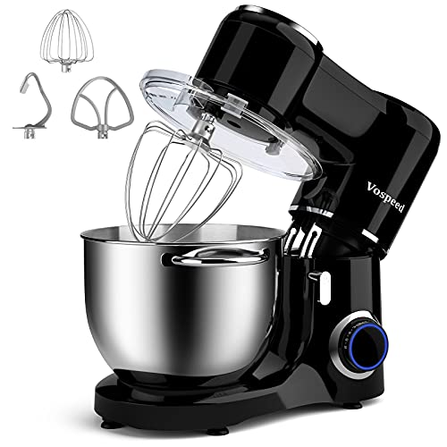 Vospeed Stand Mixer, 7.5 QT 660W 6-Speed Tilt-Head Food Mixer Kitchen Electric Mixer with Stainless Steel Bowl, Beater, Hook, Whisk, Black