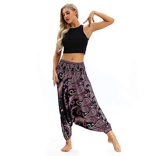 YWLINK Frau BeiläUfig Lose Yoga Hosen Ausgebeult Boho Aladdin Overall Haremshose