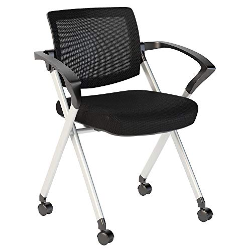 Bush Business Furniture Corporate Mesh Back Folding Office Chairs Set of 2 in Black