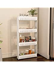 (4 Tier) - Mobile Shelving Unit Organiser with 4 Large Storage Baskets, Slim Slide Out Pantry Storage Rack for Narrow Spaces by Everyday Home