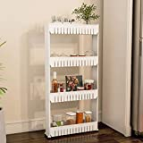 Mobile Shelving Unit Organizer with 4 Large Storage Baskets, Slim Slide Out Pantry Storage Rack for Narrow Spaces by Everyday Home