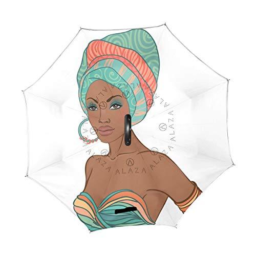 XiangHeFu Doppelschichtiger umgekehrter Regenschirm wunderschön afrikanische Frauen faltbar Winddicht UV-Schutz groß gerade für Auto mit C-förmigem Griff