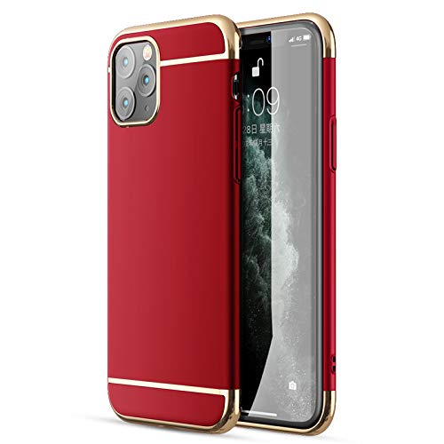iPhone 11 Pro Max Case, CROSYMX 3 in 1 Ultra Thin and Slim Hard Case Coated Non Slip Matte Surface with Electroplate Frame for Apple iPhone 11 Pro Max(6.5'')(2019) - Red