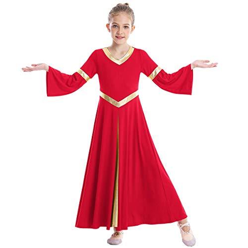 Disfraz Niña Vestido de Alabanza Litúrgico Danza Ropa Baile Latino Manga Larga Regalos Compleaños Niños Disfraces de Oración de la Iglesia Niñas Falda de Fiesta Ballet Rojo 13-14 Years