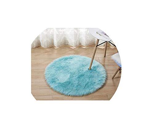 15 Colors Sheepskin Wool Carpet Chair Cover Bedroom Faux Mat Seat Pad Plain Skin Fur Plain Fluffy Area Rugs Washable,Light Blue,Diameter 35Cm
