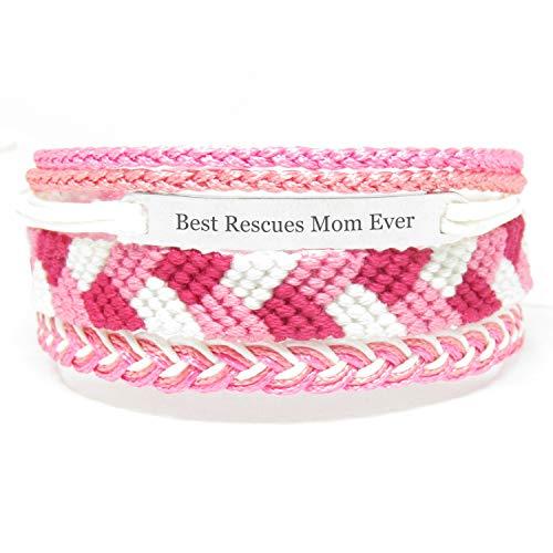 Miiras Handgemachtes Armband für Frauen - Best Rescues Mom Ever - Rosa - Aus Stickgarn und Rostfreier Stahl - Geschenk für Rettet Mama