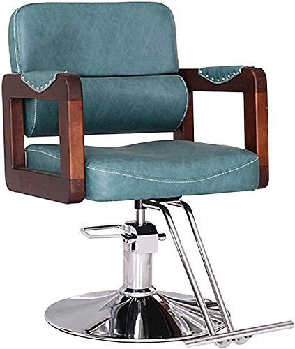 Silla de peluquería, silla de peinado de pelo hidráulico 360 ° Altura giratoria Ajustable Silla de peluquería de servicio pesado (Color : Vintage blue)