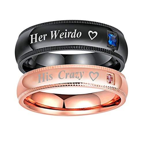 Beydodo 2 Partnerringe Herren Damen Zirkonia Herz Her Weirdo His Crazy Hochzeitsring Rosegold Schwarz Ringe Edelstahl Damen Gr.67 (21.3) + Herren Gr.67 (21.3)