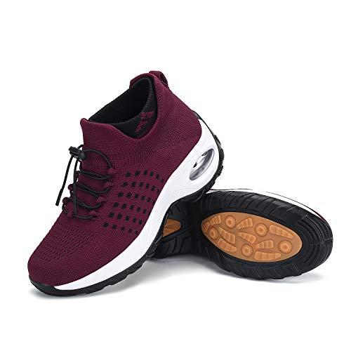 Damen Laufschuhe Socken Sneaker Slip On Mesh Luftkissen Bequem Keilabsatz Einfache Loafer, Rot (weinrot), 38 EU