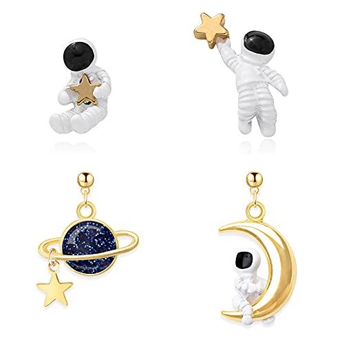 MEZHEN Orecchini Astronauta Orecchini da Donna Orecchini a Perno Argento 925 Orecchini Bambina Pendenti Orecchino Regalo di San Valentino Natale Compleanno Gioielli di Moda 2 Paia