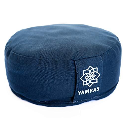 Yamkas Cojin Meditacion Yoga – Relleno de Cáscaras de Trigo Sarraceno – Cubierta en Algodon Lavable- Zafu Meditación - Cojin Suelo Redondo - Meditation Cushion - Altura 15 cm (Navy, 30 x 15 cm)