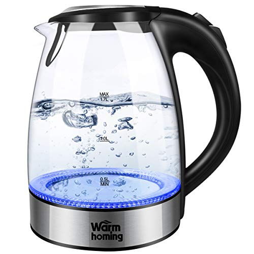 Electric Kettle, Warmhoming 1.7L Cordless Glass Tea Kettle, Hot Water Kettle Heater with Auto Shut-Off & Boil-Dry Protection, BPA-Free & 304 Stainless Steel, Fast Boiler with LED Indicator Light