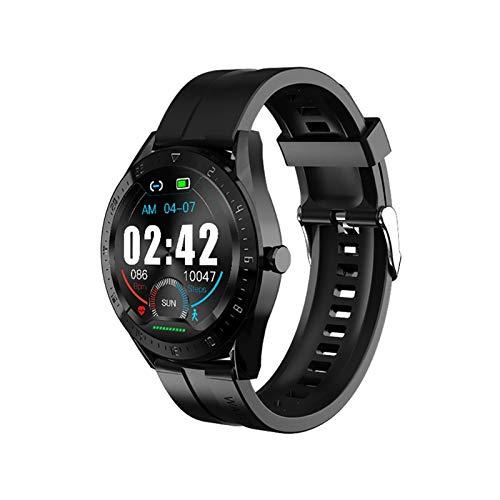 XXY Hombres Mujeres Inteligentes Reloj Pantalla Táctil Completo Reloj Inteligente Ritmo Cardíaco Rastreador De Fitness Control De Música Reloj Deportivo K60 Smartwatch (Color : Black)