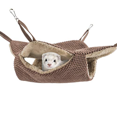 Niteangel Cage Hammock Pet Nap Bed Accessories Fit Adult Ferrets or 2 More Adult Rats (Chocolate)