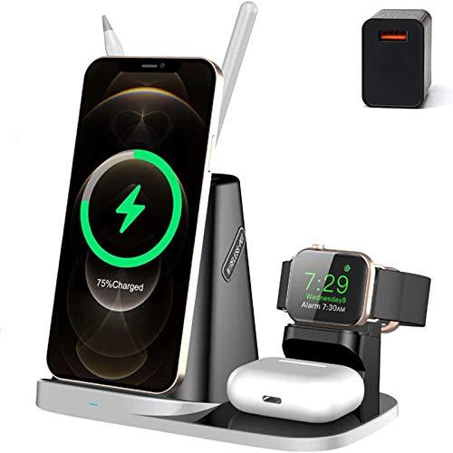 Xflelectronic Estación de Carga inalámbrica para Apple Watch 6/5/4/3/2/1, Cargador inalámbrico, Base de Carga rápida certificada por Qi para iPhone 12/12 Pro MAX/Mini / 11/11 Pro MAX/XR/XS/X / 8 Más