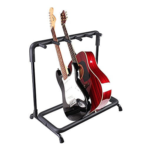 AW 5 Five Holder Multi Guitar Folding Stand Band Stage Bass Acoustic Guitar Display Rack