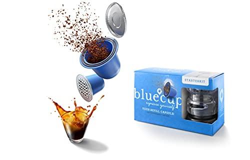Bluecup Cápsulas de café reutilizables Nespresso Cafeteras, Recargables Compatibles con Nespresso Máquinas, 2 Cápsulas Rellenables + 100 Tapas + 1 Sellador de...