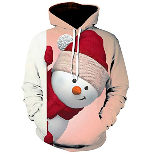 ESAILQ Weihnachten Kapuzenpullover Damen Langarm Weihnachtspullover Sweatshirt...