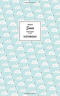 Swan Notebook - Ruled Pages - 5x8 - Premium: (Aqua Edition) Fun bird notebook 96 ruled/lined pages (5x8 inches / 12.7x20.3...