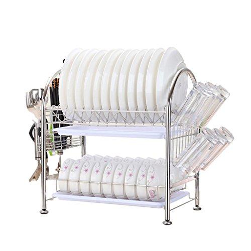 304 en acier inoxydable Bowl étagère double couche de vaisselle de plomberie tablette de cuisine incorporé mis sur les fournitures de bols 41 * 28.5 * 43cm (edition : G, taille : 41 * 28.5 * 43CM)