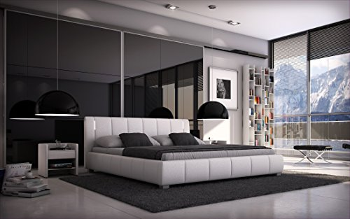 SEDEX Bett Luna 140x200cm Doppelbett/Polsterbett inkl. LED/Kunstleder - weiß
