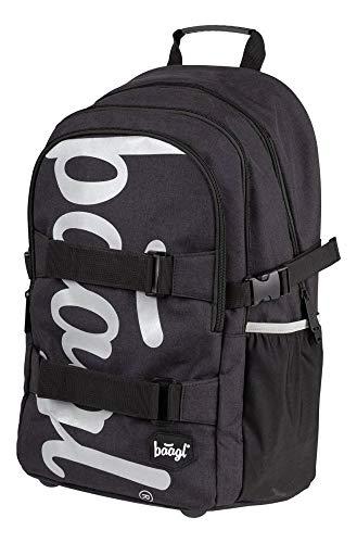 Baagl Schulrucksack für Jungen Teenager - Skateboard Rucksack - Kinderrucksack mit Laptopfach und Brustgurt für Schule (Black)
