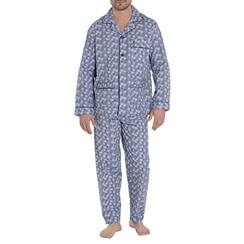 El Búho Nocturno Herren Schlafanzug Lang Zweiteiliger Pyjama mit Langen Ärmeln und geknöpfte Jacke Klassische Nachtwäsche Popelinestoff M Marineblau Einräder