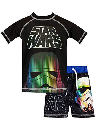 Star Wars Costume da Bagno per Ragazzi a Due Pezzi Guerre Stellari Nero 8-9 Anni