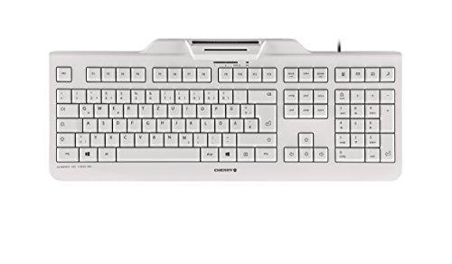 CHERRY KC1000 SC Corded Security Keyboard USB ultraflat Grey mit integriertem Smartcard-Terminal (DE), JK-A0100DE-0