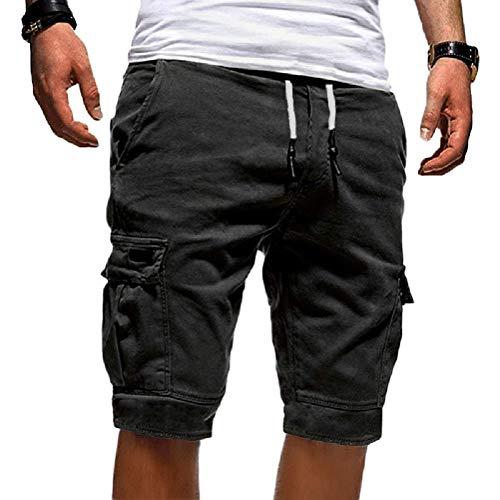 Onsoyours Herren Cargo Hose Shorts Sommer Freizeit Bermuda Kurze Hose Chino Training Jogging Hose Mit Kordel Regular Fit Grau Large