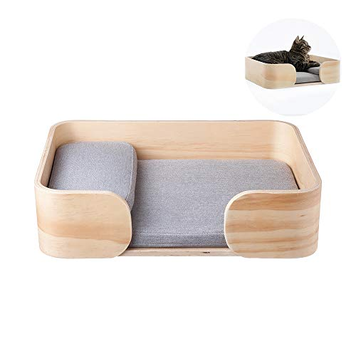 pidan Wooden cat Beds for Indoor Cats Fabrics Pillow Removable Wood Wax Surface Treatment (Square)