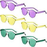 Confezione da 6 Occhiali da Sole Rotondi Senza Montatura di Mardi Gras Occhiali Colorati Trasparenti di Color Caramello Occhiali da Sole di Festa di martedì Grasso (Verde, Oro, Viola)