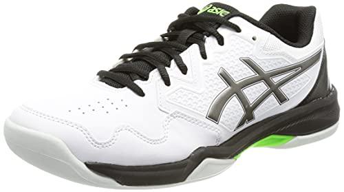 ASICS Herren Gel-Dedicate 7 Indoor Tennis Shoe, White/Gunmetal, 44 EU