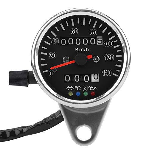 KIMISS Indicador del velocímetro de la Motocicleta ,65mm Velocímetro de Motocicleta mecánico LED Universal, Indicador de odómetro con indicador de Astilla (Rostro Negro)
