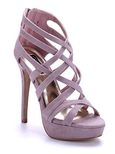 Schuhtempel24 Damen Schuhe Plateausandaletten Sandalen Sandaletten lila Stiletto 14 cm High Heels
