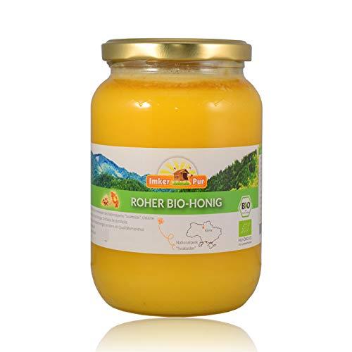 BIO Rohhonig von ImkerPur, ungefiltert, nicht geschleudert oder erhitzt, enthält Blütenpollen, Bienenwachs, Propolis, Bienenbrot und Gelee Royal (1000 g Roher Honig BIO)