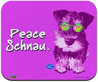 Mouse Mat, Peace Schnau Schnauzer Puppy Dog Retro Low Profile Thin Mouse Pad 14 x 24 Inch Mousepad, Gaming Mouse Pad