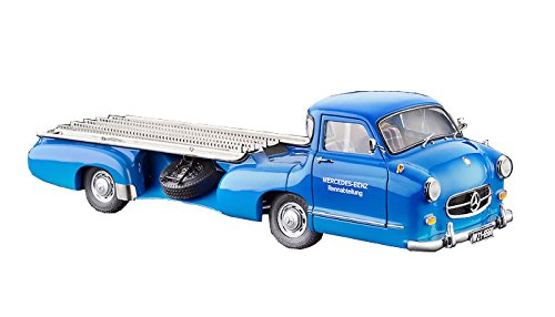 CMC-Classic Model Cars 1955 Mercedes-Benz Racing Transporter, Blue Wonder 1:18 Scale Detailed Assembled Collectible Historic Antique Vehicle Replica