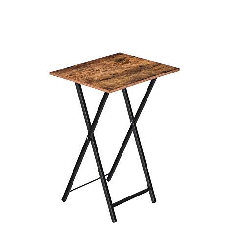 HOOBRO Beistelltisch, Sofatisch, Klappbar Tablett Tisch, Serviertisch Snack Tisch im Industriestil, Kaffeetisch TV Tray für kleinen Raum, einfach montierbar, stabiles, Dunkelbraun EBF15BZ01