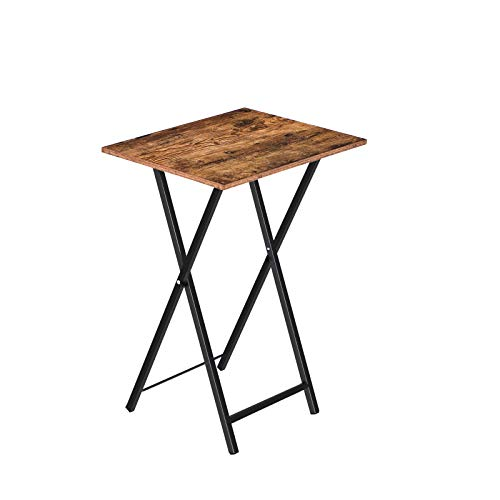 HOOBRO Side Table, Folding Tray Table, TV Trays, Industrial Snack Tables for Eating at Couch, End Table for Small Space, for Easy Storage, Stable Metal Frame, Rustic Brown EBF15BZ01