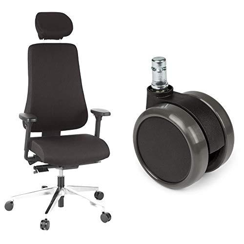 hjh OFFICE Bürostuhl/Chefsessel PRO-TEC 400 Stoff schwarz Alu poliert & 5X Hartbodenrollen 11mm / 65mm Büro-Stuhl-Rollen für Hartböden (5er Pack)