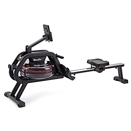 HouseFit Water Rower Rowing Machine 330Lbs Weight Capacity for Home use Water Resistance Row Machine Exercise Equipment with iPad and Phone Support LCD Digital Monitor