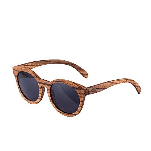 MIAROZ Bambus-Sonnenbrille mit Brillen-Etui, polarisiert - UV400 - verschiede Farben u verspiegelte Gläser, mit Bügeln aus Bambus | UV-Schutz (Brown)
