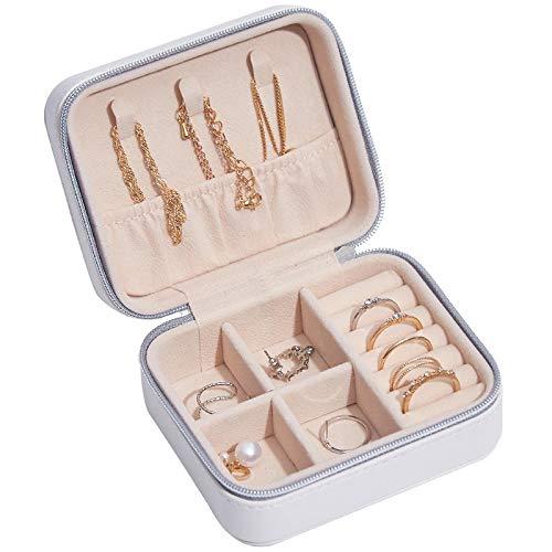 Caja de joyería de viaje para mujer, de piel sintética, organizador de joyas (blanco)