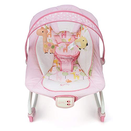 HSTD Hamaca Bebe, Hamacas Bebes con Movimiento, Balancín para Bebés, Hamaca Columpio Bebe, con Música Asiento Ajustable y Barra de Juguetes Gorila Rosa Portátil Pink