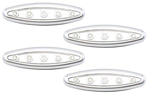 Lunartec Lampen zum Kleben: Stick-&-Push-Light Silver Giant 4er-Set (Lampen zum Kleben mit Batterie)