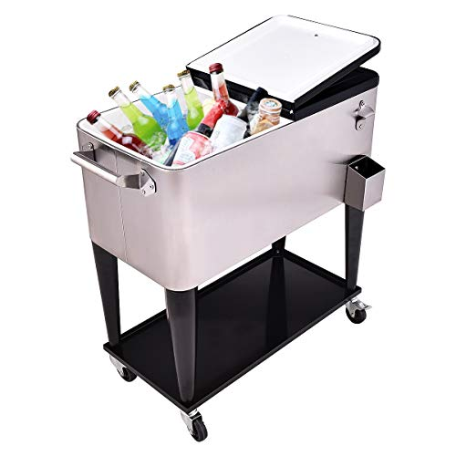 RELAX4LIFE Rolling Cooler 80 Quart Stainless Steel W/Shelf for Party,Picnic Outdoor Beverage Bar Portable Ice Chest